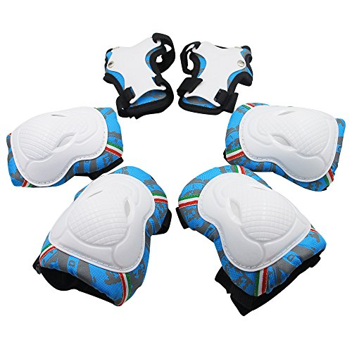 Kids Protective Gear,Knee Elbow Pads and Wrist Child's Pad Set for Inline Roller Skating Biking Sports Safe Guard ,(Blue)