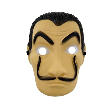 HUPLUE Halloween Cosplay Face Mask Salvador Dali Original La Casa De Papel Mascara Money Heist PVC