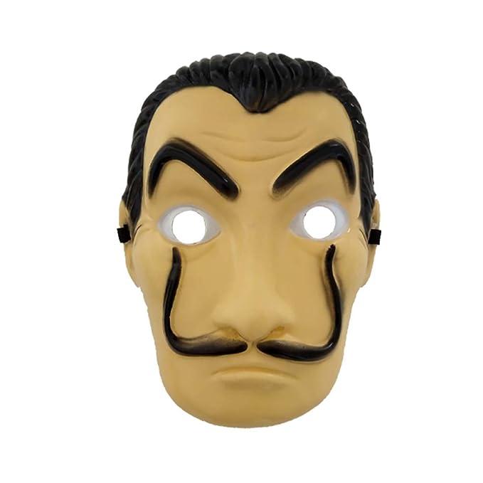 Amazon.com: AODEW Salvador Dali Original La Casa De Papel Mascara Money Heist Face Mask PVC Mask Cosplay Realistic Movie Prop Face Mask: Toys & Games