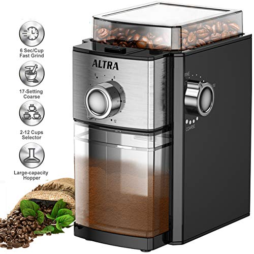 Double Conical Burr Coffee Grinder, ALTRA Electric Pepper Bean Spice Grinder 【ETL Approved】with 8.8oz Large Bean Hopper & 17 Grinding Settings & 12 Cups Options for French Press,Drip,Percolator Maker