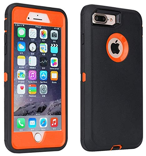Annymall Case Compatible with iPhone 8 Plus/iPhone 7 Plus, [Heavy Duty] Built-in Screen Protector Tough 4 in1 Rugged Shorkproof Cover for Apple iPhone 7 Plus & iPhone 8 Plus (Orange) (Iphone 4 Orange Screen)