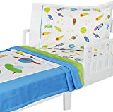 3pc RoomCraft Blast Off Toddler Bedding Set Outer Space Rocket Ships Blanket Sheet and Pillowcase Set