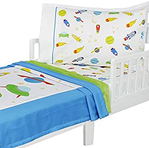 Amazon.com : 3pc RoomCraft Blast Off Toddler Bedding Set ...