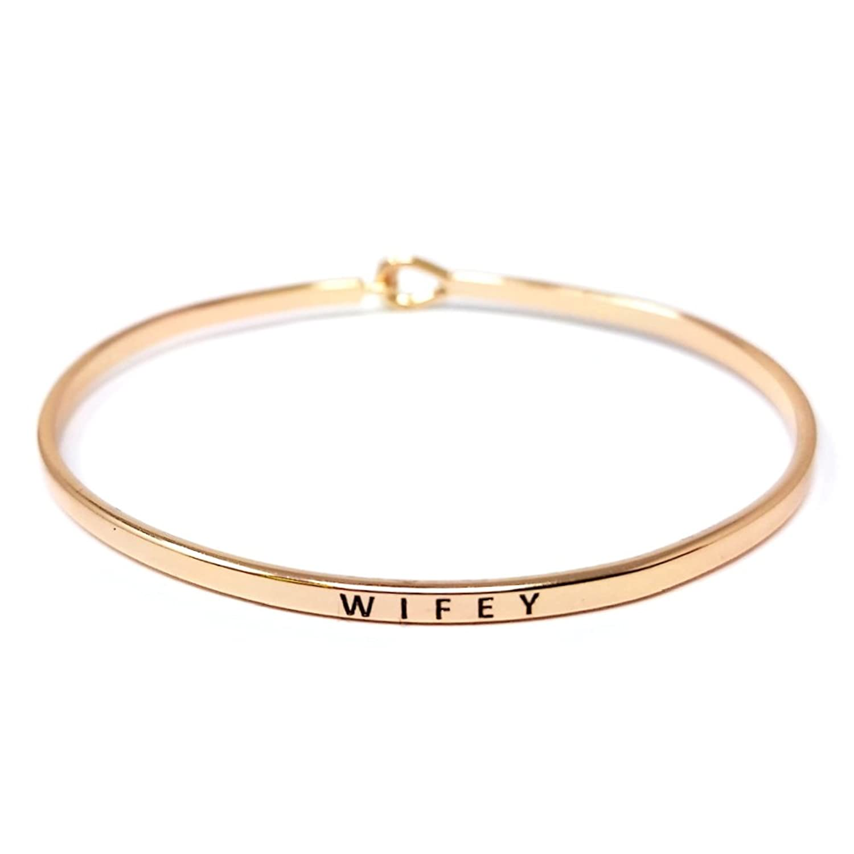 "Me Plus Inspirational ""WIFEY"" Positive Message Engraved Thin Bangle Hook Bracelet"