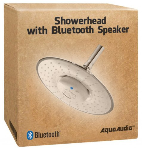 "AquaAudio 2.5 GPM Relaxing & Soothing Ultra-Wide Powerful Drenching Rain Shower Head with Bluetooth Speaker / 8.5"" Diam. Showerhead / Listen to Music & Answer Calls with Built-in Mic and Button / For All Devices with Bluetooth Capability (White)"