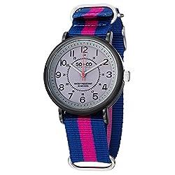 SO&CO New York Men's 5002A.3 SoHo Quartz Grey Luminous Dial Blue and Pink Canvas Strap Watch