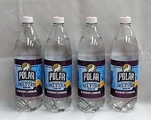 Blueberry Lemonade Seltzer by Polar Beverages 1 liter (33.8 fl oz) Bottles (4 Bottles)
