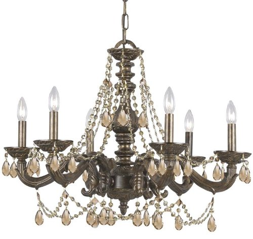Crystorama 5026-VB-GT-MWP, Sutton Crystal 1 Tier Chandelier Lighting, 6 Light, 360 Watts, Bronze ()