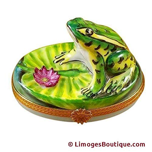 FROG ON LILY PAD - LIMOGES BOX AUTHENTIC PORCELAIN FIGURINE FROM FRANCE ()