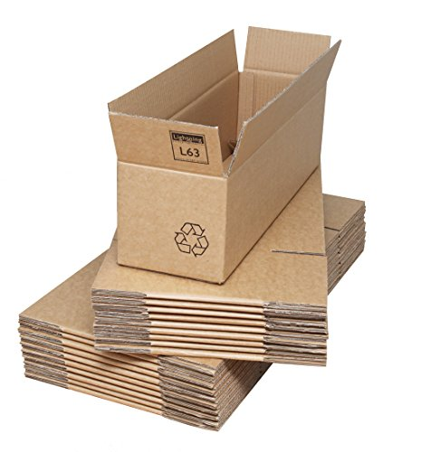8510ca96eea Double Wall Cardboard Boxes - 535x155x155mm (21x6x6ins). Pack of 20. Strong  Corrugated Flatpacked Packing Cartons. Easily Assembled.