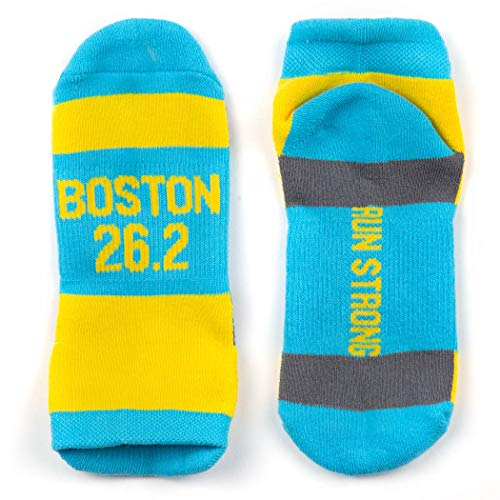 Inspirational Athletic Running Socks | Women's Woven Low Cut | Boston 26.2 | Blue/Yellow