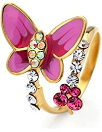 Jewelry Christmas Valentines Day Gift Enamel Butterfly Bees Freesize Rings With Colorful Rhinestone 3 Colors