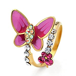 NEOGLORY Jewelry Pink Butterfly Rings with Colorful Rhinestone Birthday for Women