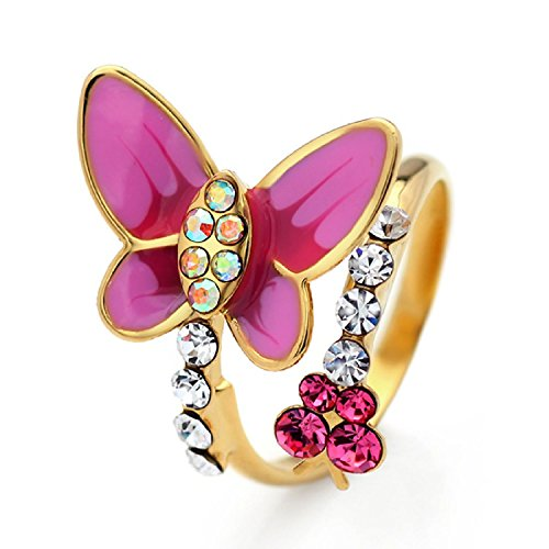 (Neoglory Jewelry Pink Butterfly Rings with Colorful Auden Rhinestone Party/Birthday Gifts for Girl)
