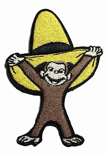 Curious George with Yellow Hat Iron On Patch ()