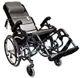 Karman Healthcare VIP515-18-E VIP515 18 in. seat Tilt in Space Lightweight Reclining Wheelchair with 20 in. inch Rear Wheels and Elevating Legrest