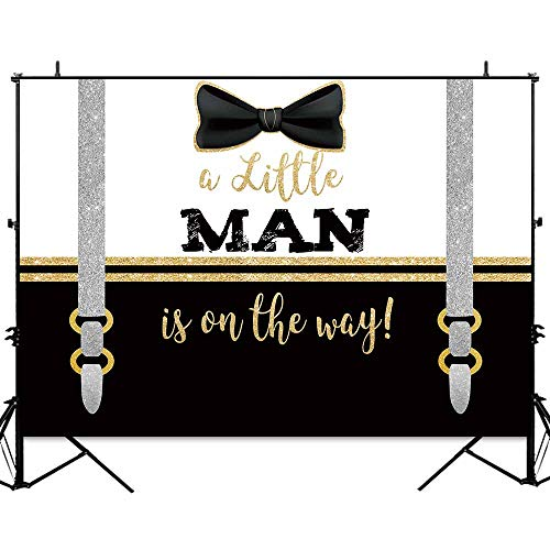 Allenjoy 7x5ft Little Man Tie Party Backdrop Boys Gentleman Baby Shower Banner Cake Table Gold and Black Baptism Decorations Photography Background Photo Studio Booth Props