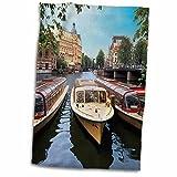 3dRose Danita Delimont - Boats - Cruise boats, Amstel canal, Amsterdam, The Netherlands - EU20 MGL0074 - Miva Stock - 12x18 Hand Towel (twl_138354_1)