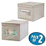 Crib with Changing Table and Dresser Attached mDesign Soft Stackable Fabric Closet Chevron Storage Organizer Holder Box - Clear Window, Attached Hinged Lid, for Child/Baby Room, Nursery - Pack of 2, Large, Zig Zag Pattern in Taupe/Natural