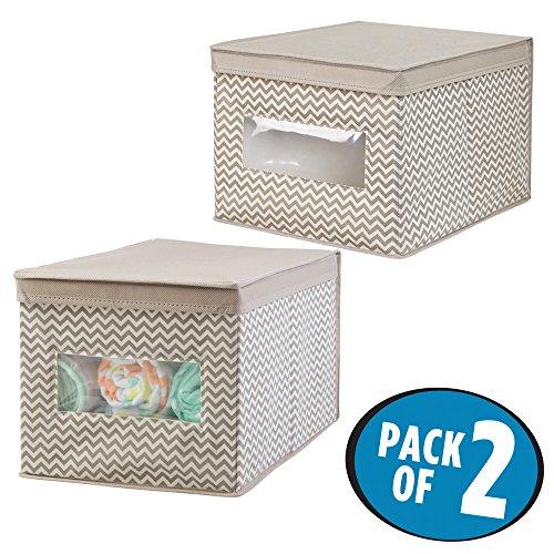 mDesign Fabric Baby Nursery Closet Storage Organizer Box for Bibs, Burp Cloths, (Fabric Baby Bib)