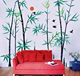 Pop Decors Removable Vinyl Art Wall Decals Mural for Nursery Room, Bamboo Forest with Flying Birds