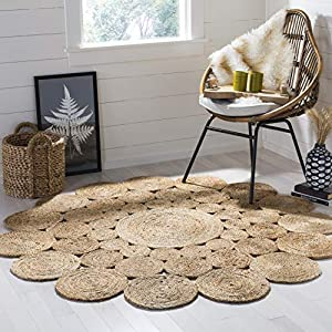 Safavieh Natural Fiber Round Collection NF363A Handmade Boho Charm Farmhouse Jute Area Rug, 3′ x 3′ Round, Natural