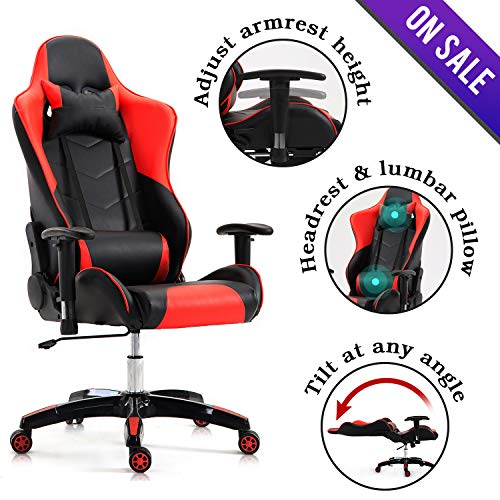 Swivel Recliner Like Leather Cushion (Computer Gaming Chair - Racing Chair pu Leather Bucket Seat,Ergonomic Reclining Office Chair High Back Headrest and Lumbar Support Executive Desk Chair Red&Black)