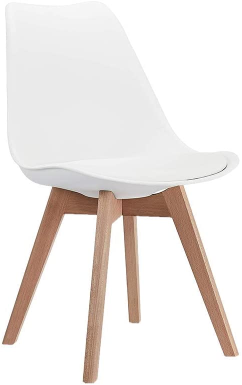 CangLong Mid Century Modern DSW Side Chair with Wood Legs for Kitchen, Living Dining Room, Set of 1, White