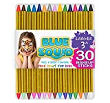 Blue Squid Face Paint Crayons for Kids, 30 Jumbo 3.25' Face & Body Painting Makeup Crayons, Safe for Sensitive Skin, 6 Metallic & 24 Classic Colors, Great for Birthday Party