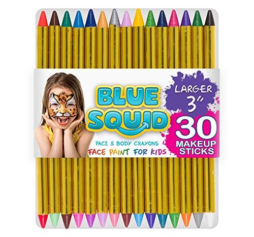 Face Paint Crayons for Kids, Blue Squid 36 Jumbo 3.25″ Face & Body Painting Makeup Crayons, Safe for Sensitive Skin, 8 Metallic & 28 Classic Colors, Great for Birthdays & Halloween Makeup