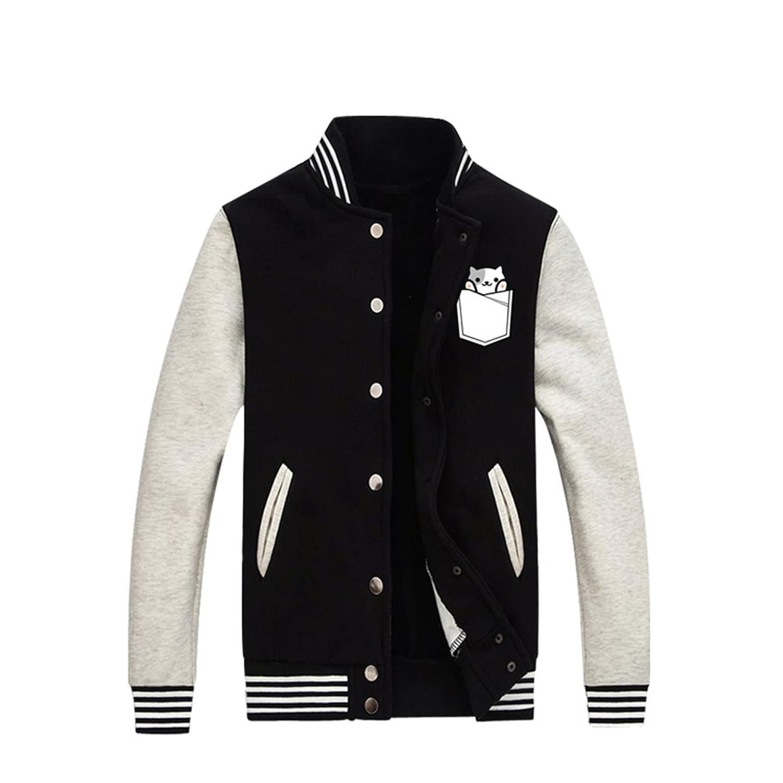 Bromeo Neko Atsume Anime Unisex Baseball Uniform Long Sleeve Jacket Coat