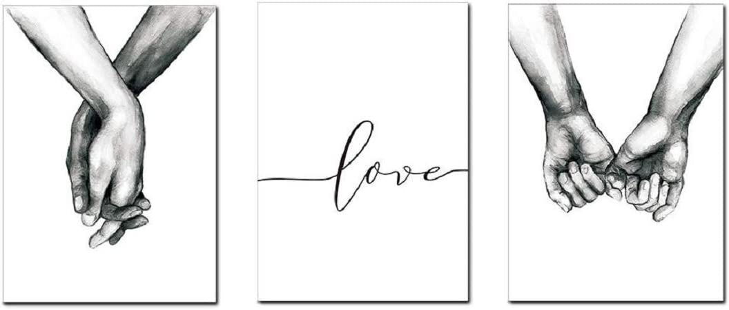 Love and Hand in Hand Wall Art Canvas Print Poster Black and White Sketch Art Line Drawing Decor for Living Room Bedroom (Set of 3 Unframed, 8x10 inches)