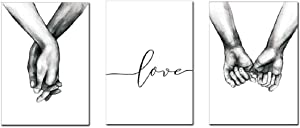 Love and Hand in Hand Wall Art Canvas Print Poster Black and White Sketch Art Line Drawing Decor for Living Room Bedroom (Set of 3 Unframed, 16x20 inches)