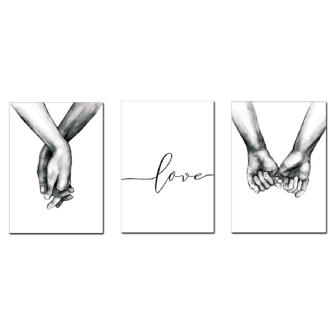AEVIO Love and Hand in Hand Wall Art Canvas Print Poster Black and White Sketch Art Line Drawing Decor for Living Room Bedroom (Set of 3 Unframed, 8.3x12 inches)