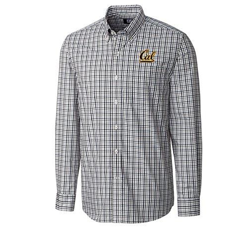 Cutter & Buck NCAA California Golden Bears Men's Long Sleeve Gilman Plaid Shirt, 3X-Large, Liberty Navy - Mens California Bears