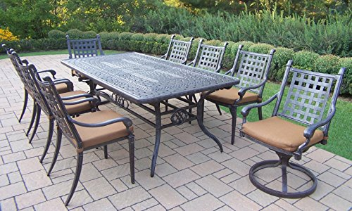 Cheap Oakland Living Belmont 9-Piece Rectangular Extendable Table Dining Set with Sunbrella Cushions, 84 by 126 by 46-Inch