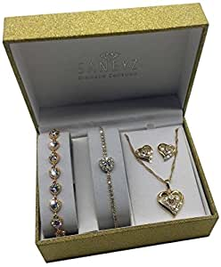 Heart Jewelry Gift Set (2 x Bracelets, Necklace & Earrings) - Great Birthday Gift For Her