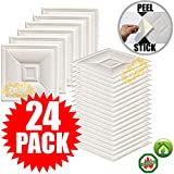 Eazy How To 24 Pack Ceiling Tiles 12''x12'' Peel and Stick Easy Installation Textured Panels - White