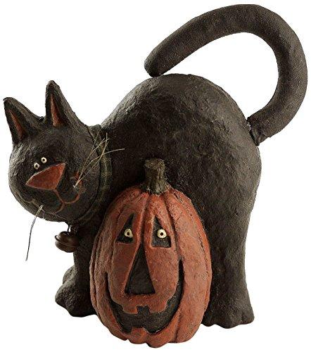 Craft Outlet Papier Mache Cat with Pumpkin Figurine, 8.5-Inch