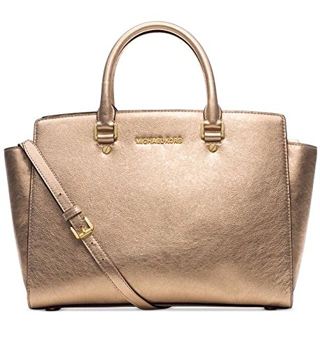 Michael Kors Selma Large Top Zip Satchel in Pale Gold Metallic Gold Leather