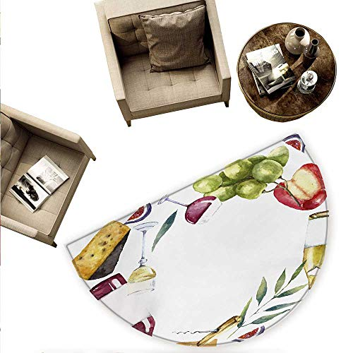 Wine Half Round Door mats Round Frame with Hand Painted Food Objects Watercolor Wine Cheese Fruits Collection Bathroom Mat H 66.9