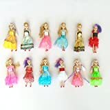 """Miniature Barbie doll 12 pack playset bundle with princess and fashion clothes accessories. Great for birthday party favors, tea parties, and dollhouses. 6"""" tall"""