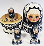 Unique Rare Russian Hand Painted Handmade Blue Nesting Dolls Set of 13 Pcs Artist Signed