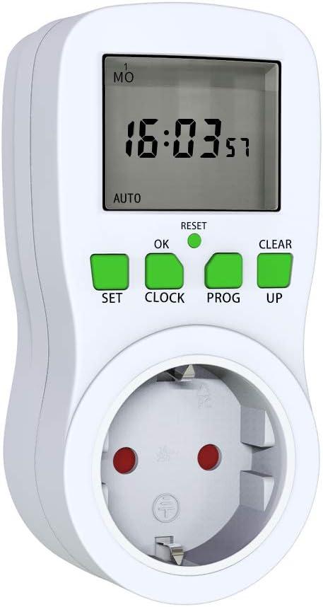 Zonsuse Temporizador de 24 Horas,Enchufe Temporizador,Enchufe El/éctrico Temporizador Digital Mec/ánico,Enchufe de Protecci/ón de Enchufe de Ahorro de Energ/ía,Protecci/ón Infantil de 15Minutos a 24Horas
