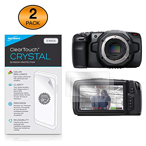 Blackmagic Pocket Cinema Camera 6K Screen Protector, BoxWave [ClearTouch Crystal (2-Pack)] HD Film Skin – Shields from Scratches for Blackmagic Pocket Cinema Camera 6K, Cinema Camera 4K