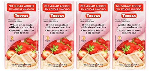 Torras Sugar Free and Gluten Free White Chocolate Bar - Strawberries (4 - Just Sugar Like Strawberry