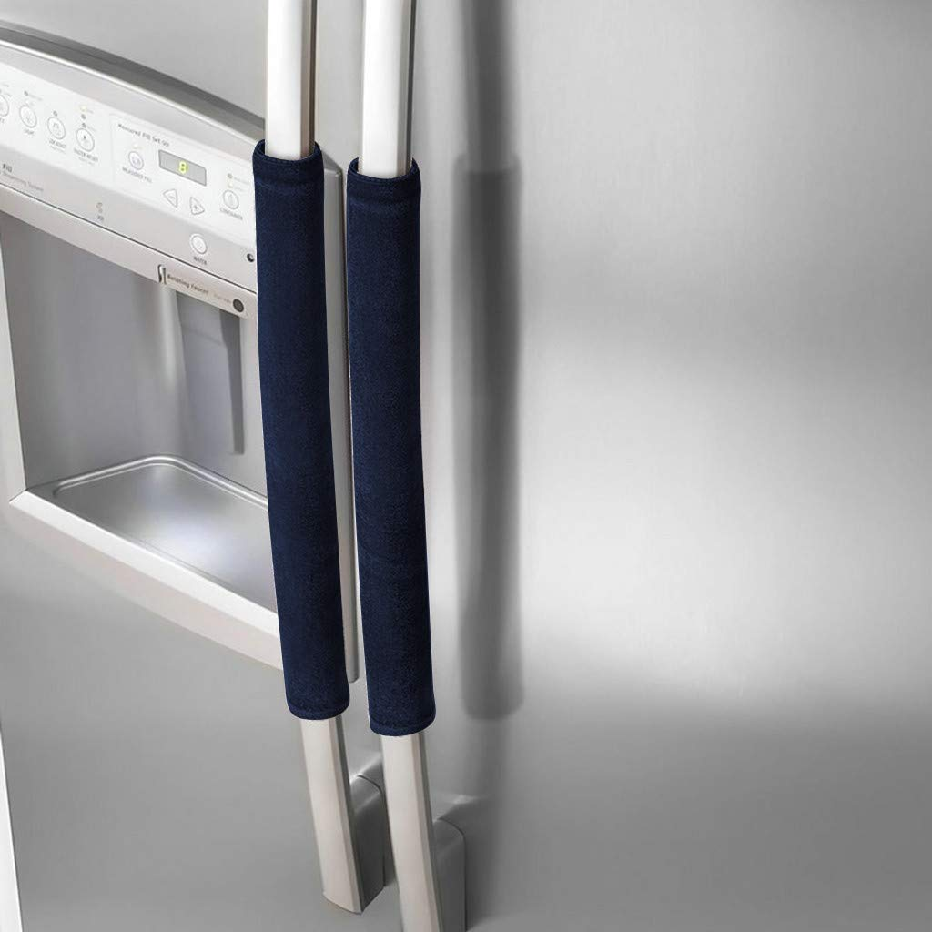Samoii Refrigerator Door Handle Covers Protective Electrical Kitchen Appliances Gloves Fridge Microwave Dishwasher Door Cloth Protector- Catches Drips,Smudges&Fingerprints Dust Covers (1Pair Plush)