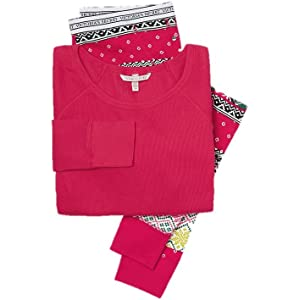 a659d6c662 Victoria s Secret Fireside Long Jane Thermal Pajama Set Red Boho Patchwork  Small