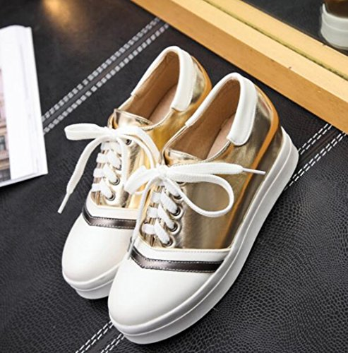Easemax Womens Trendy Stitching Lace Up Platform Round Toe Low Top Height Hidden Mid Heel Sneakers Gold ts6naqz