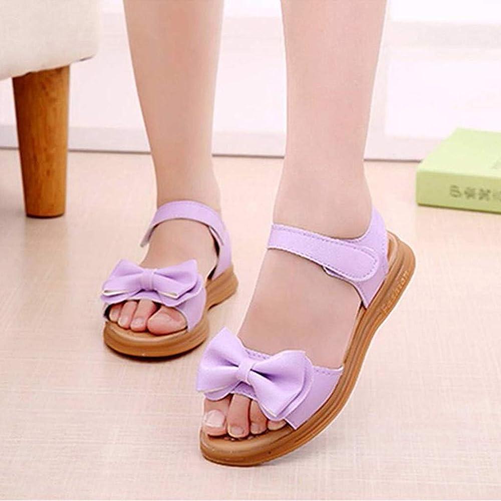 KONFA Sandalias de verano para niñas de 1 a 12 años, para niños pequeños, con lazo, princesa, zapatos de playa, botas de pantuflas de punta abierta - Multi color - 10-10.5 años: